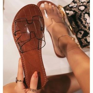 Shoes - Clear H Band Slip On Sandals